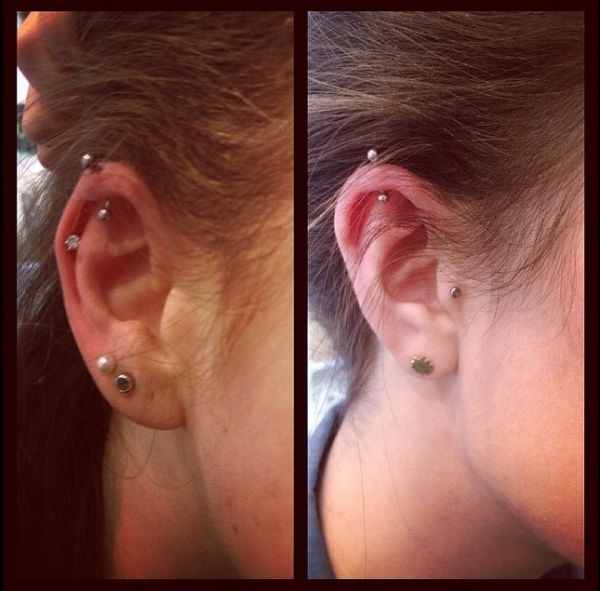 Vertical ear rim piercings by Grace
