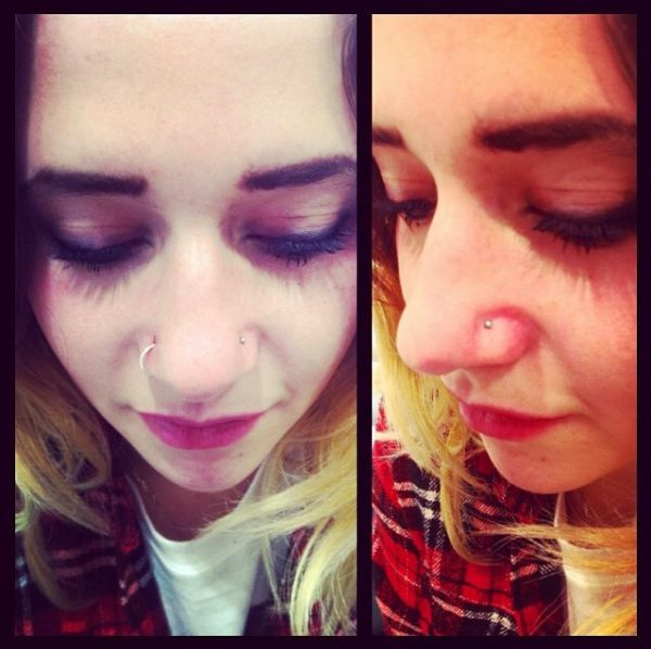 Right nostril piercing by Grace