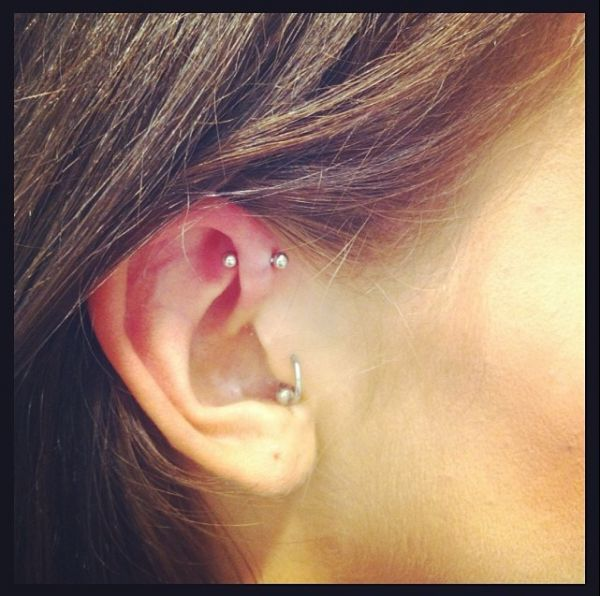 Forward helix piercing by Grace