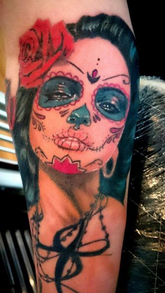 Sugarskull lady as a cover up by Brigitta